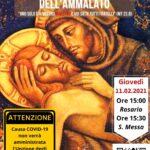 XXIX GIORNATA MONDIALE DEL MALATO: giovedì 11 febbraio 2021 ore 15 Rosario, ore 15,30 Santa Messa