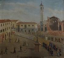 Quadro raffigurante il crollo della facciata chiesa parrocchiale San Giovanni Battista Orbassano